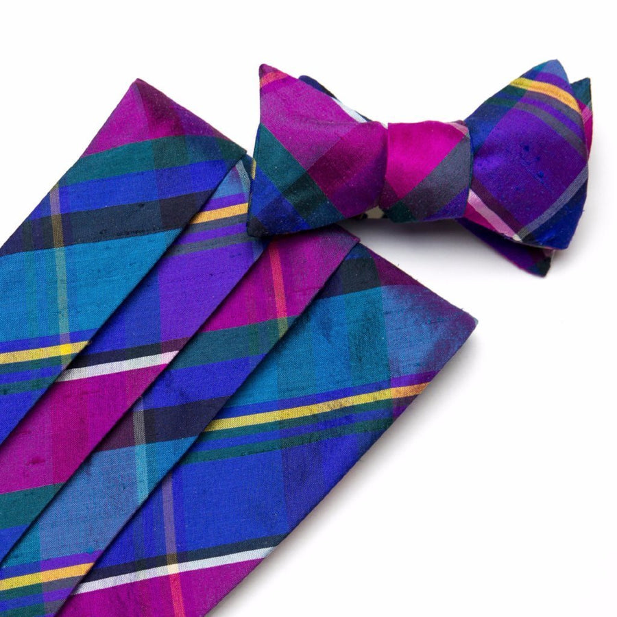 Silk Cummerbund Set- Palm Beach Plaid - Just Madras