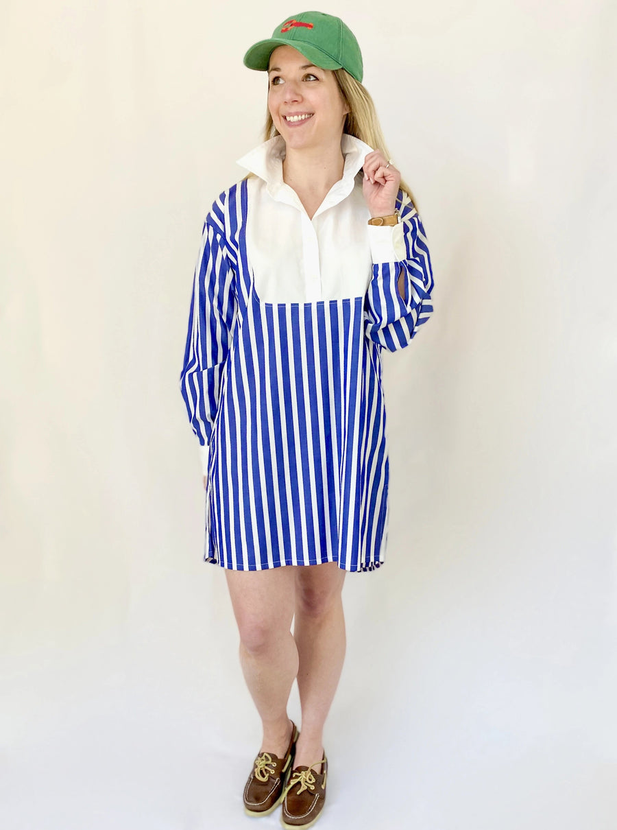 Blair Shirt Dress- Blue/White Awning Stripe - Just Madras
