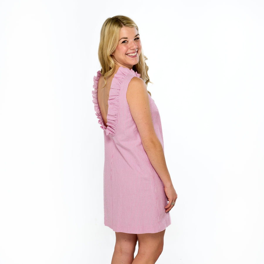 Olivia Dress- Pink Seersucker - Just Madras