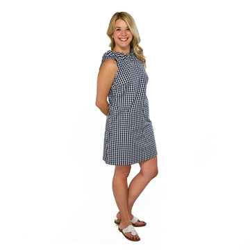 Olivia Dress- Navy Gingham - Just Madras