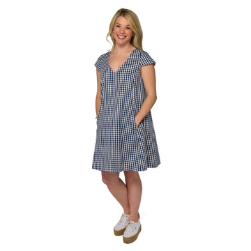 Maggie Dress- Navy Gingham - Just Madras