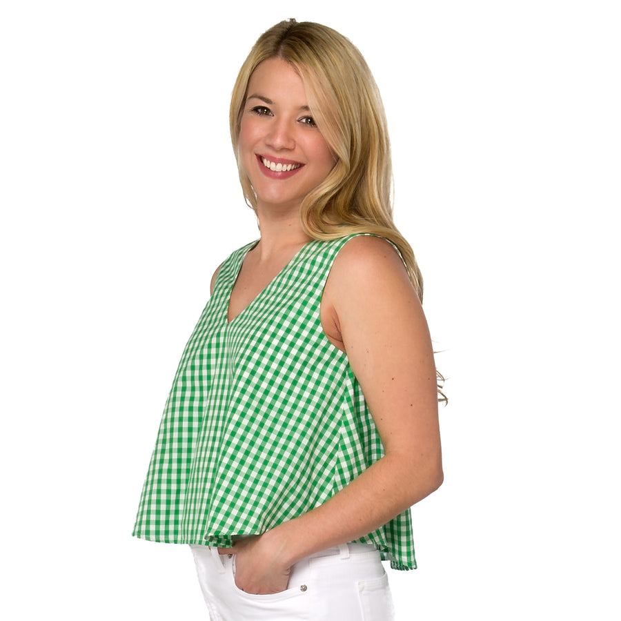 Christine (Swing) Top- Green Gingham - Just Madras