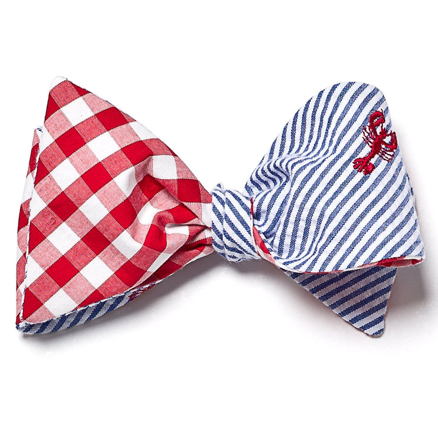 Reversible Lobster Seersucker/Red Gingham Bow Tie - Just Madras