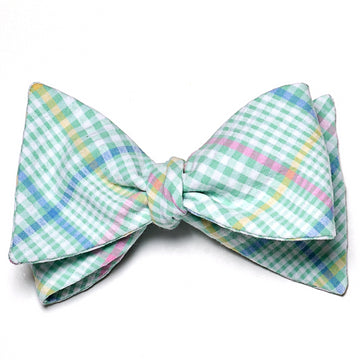 Seersucker Plaid Bow Tie- Green - Just Madras