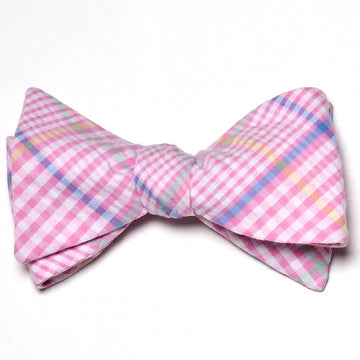 Seersucker Plaid Bow Tie- Pink