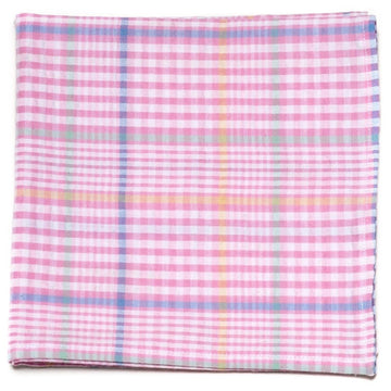 Seersucker Plaid Pocket Square- Pink