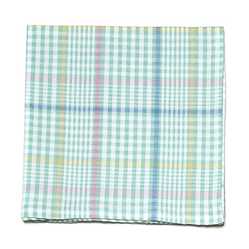 Seersucker Plaid Pocket Square- Green - Just Madras