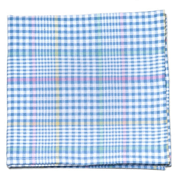 Seersucker Plaid Pocket Square- Blue - Just Madras
