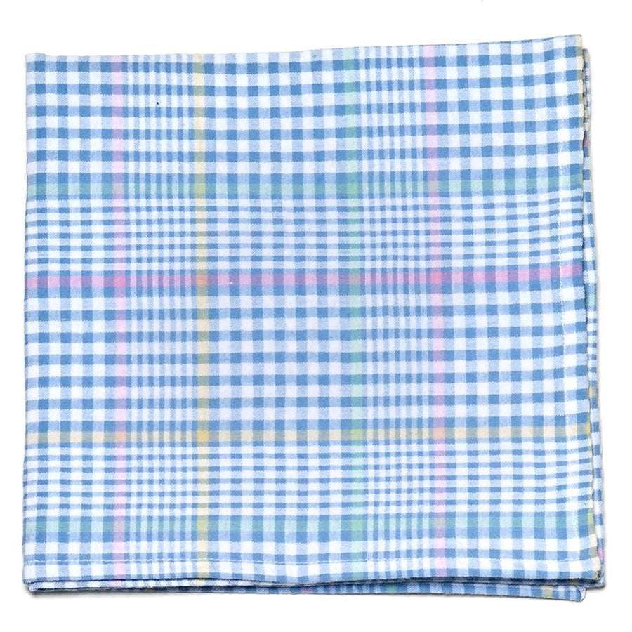 Seersucker Plaid Pocket Square- Blue