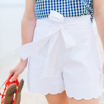 High Waisted Scalloped Shorts- White