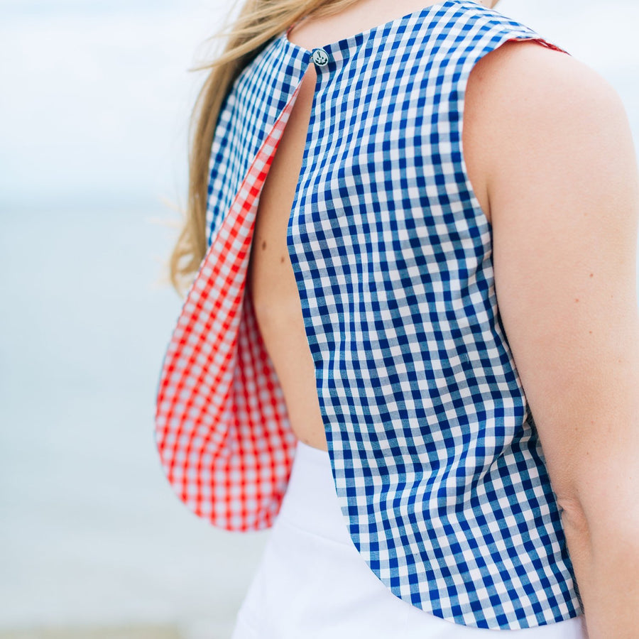 Annabelle Top (Reversible)- Red/Navy Gingham - Just Madras