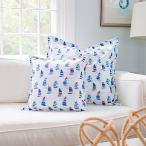 "Sailboat Pillow Cover- 18""x18"" - Just Madras"