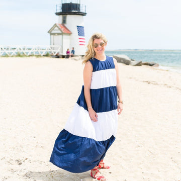 Blake Dress- Navy/White - Just Madras
