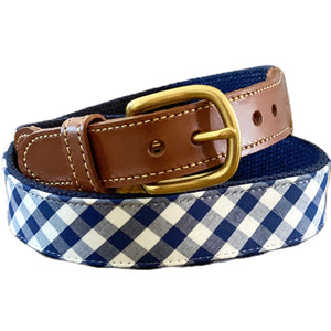 Leather Tab Belt- Navy Gingham - Just Madras