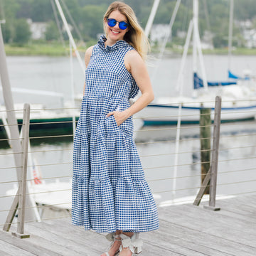 Charlotte Dress- Navy GIngham