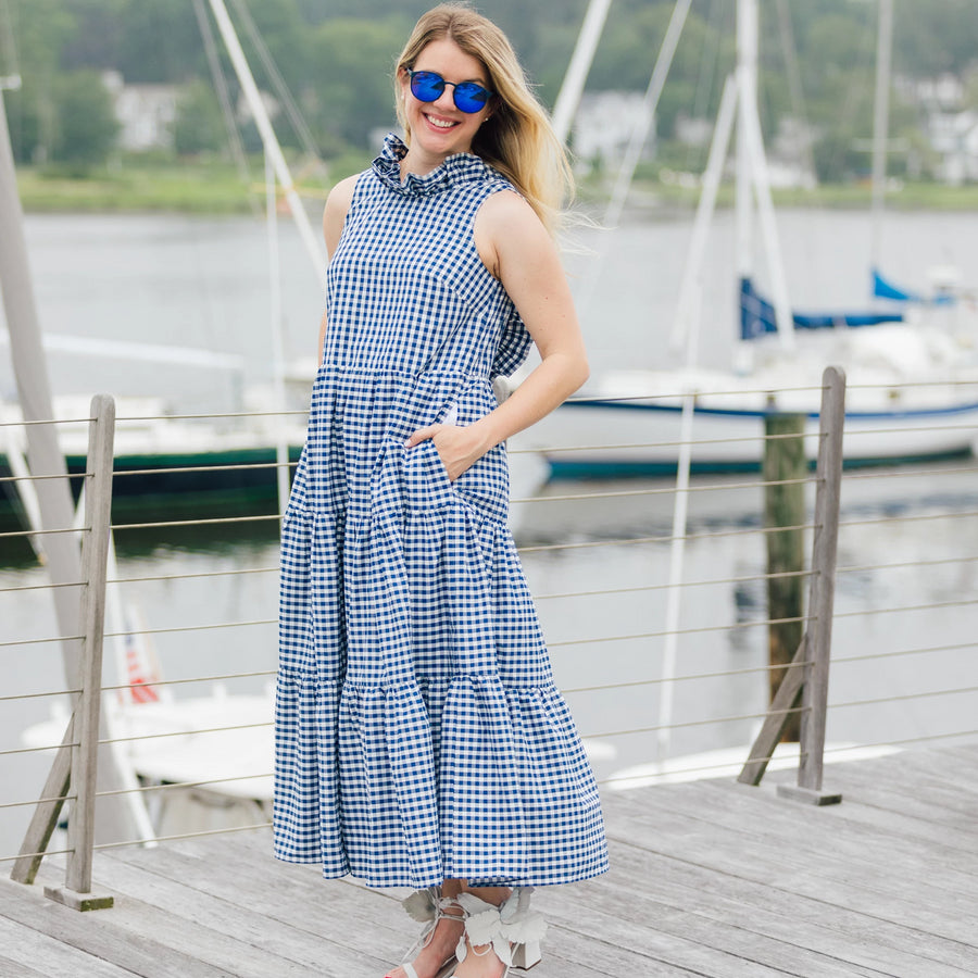 Charlotte Dress- Navy GIngham - Just Madras