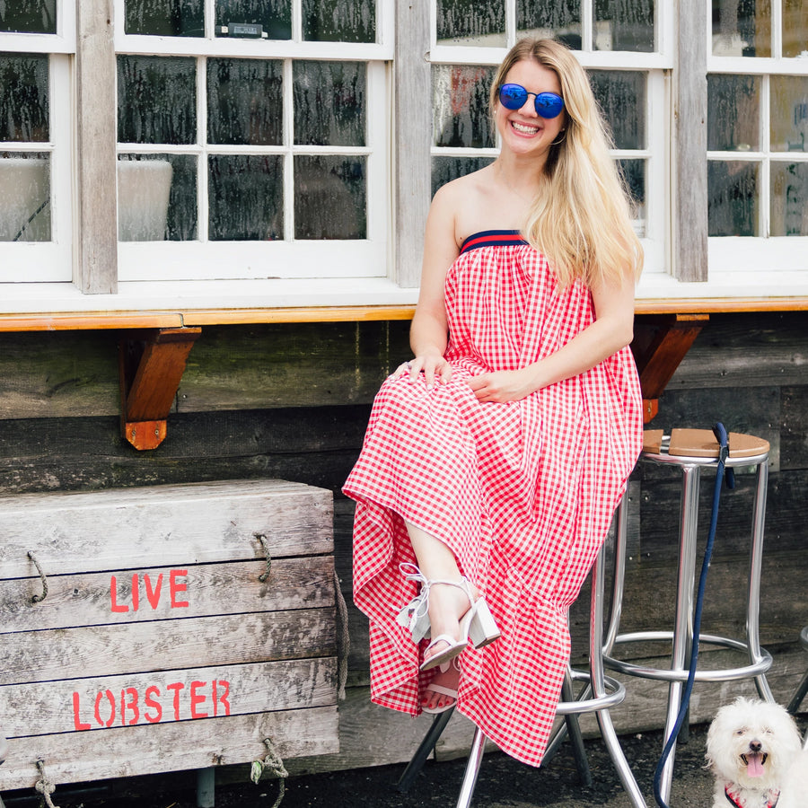 Rita Dress- Red Gingham - Just Madras