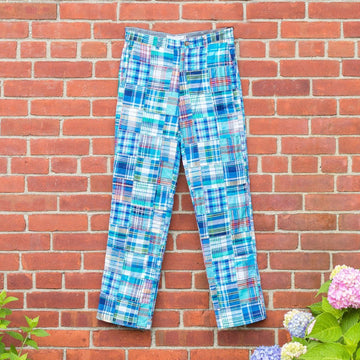 Classic Patchwork Madras Pants- Bethany