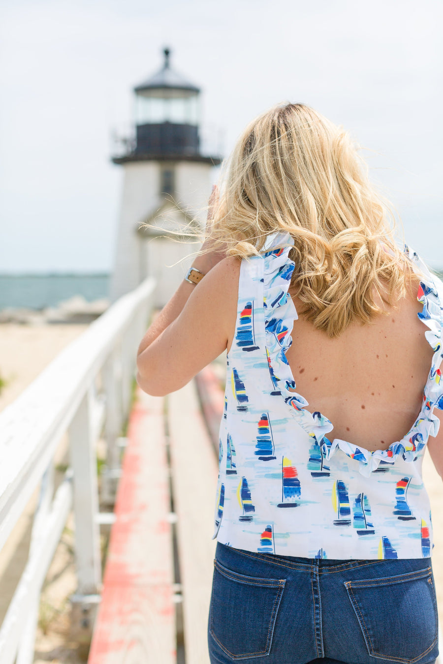 Olivia Top- Sailboat Print - Just Madras