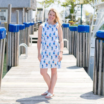 Olivia Dress- Sailboat Print - Just Madras