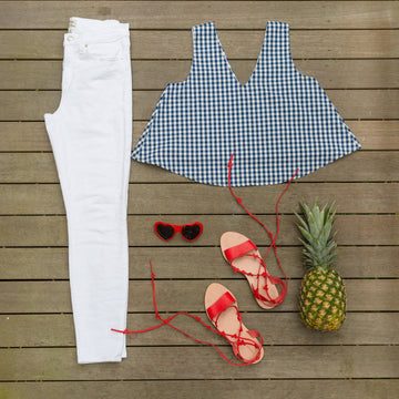 Christine (Swing) Top- Navy Gingham - Just Madras
