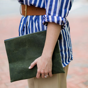Oversized Waxed Canvas Clutch- Army Green - Just Madras