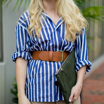 Signature Boyfriend Shirt- Blue/White Awning Stripe