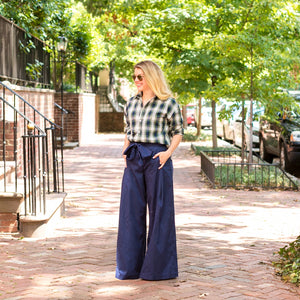 Tie Front High Waisted Pant- Navy - Just Madras
