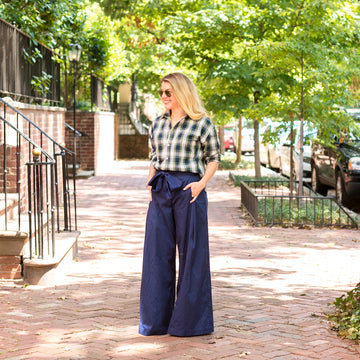 Tie Front High Waisted Pant- Navy