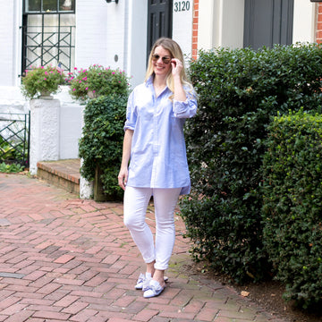 Signature Boyfriend Shirt- Blue Oxford - Just Madras