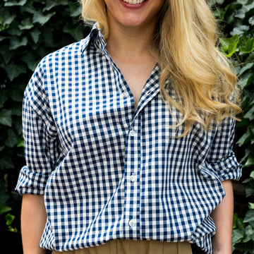 Signature Boyfriend Shirt- Navy Gingham - Just Madras