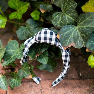 Knot Headband- Black Gingham - Just Madras