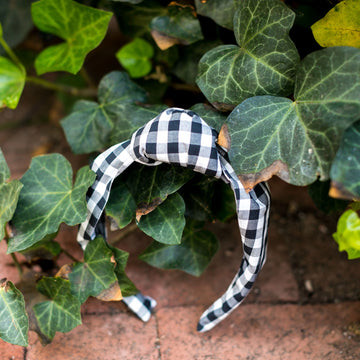 Knot Headband- Black Gingham