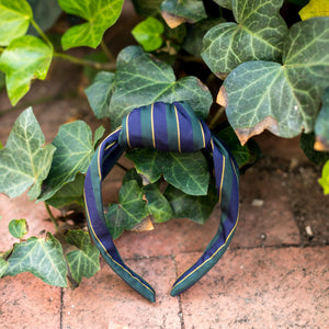 Knot Headband- Green/Navy/Gold Regimental Stripe - Just Madras