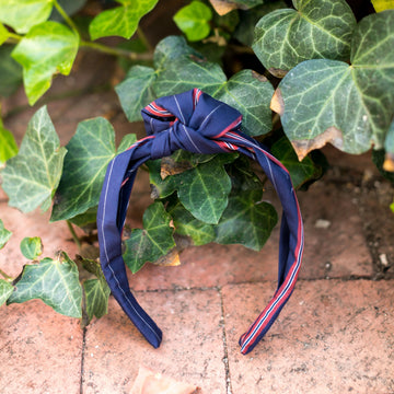 Knot Headband- Navy/Burgundy/Gray Regimental Stripe - Just Madras