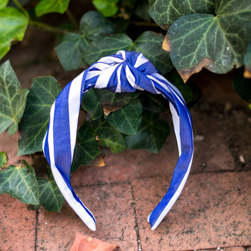 Knot Headband- Blue/White Awning Stripe - Just Madras