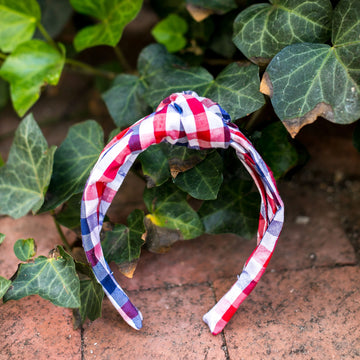 Knot Headband (Silk)- Navy and Red Gingham