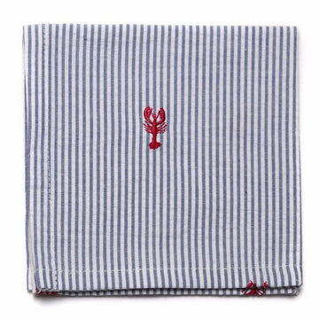 Embroidered Seersucker Pocket Square- Blue with Lobsters