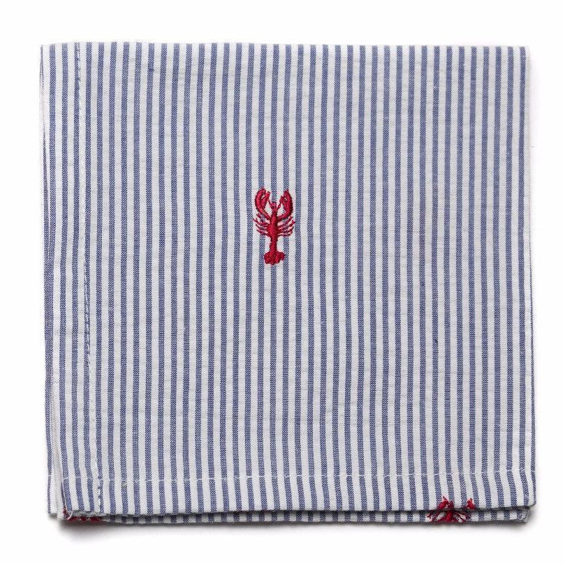 Embroidered Seersucker Pocket Square- Blue with Lobsters - Just Madras