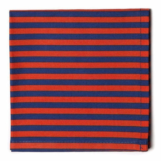 Striped Pocket Square- Navy/Red