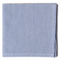 Seersucker Pocket Square- Blue - Just Madras