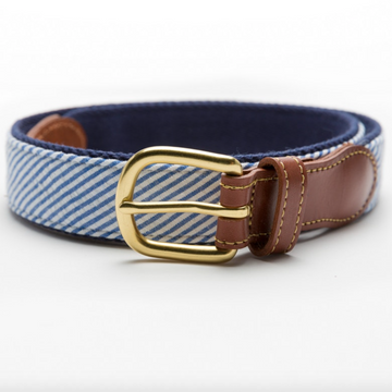 Seersucker Leather Tab Belt- Blue - Just Madras