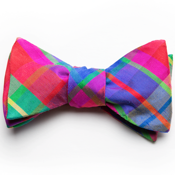 Silk Bow Tie- Confetti Plaid - Just Madras