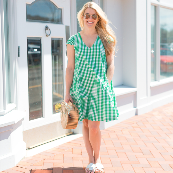 Maggie Dress- Green Gingham - Just Madras