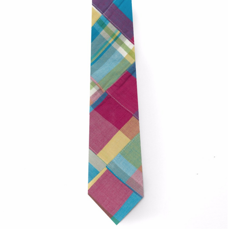 Patchwork Madras Tie- Mystic - Just Madras