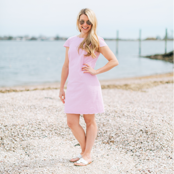 Emily Dress- Pink Seersucker - Just Madras