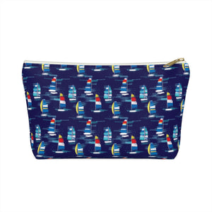 Open image in slideshow, Cosmetic Bag- Navy Sailboats - Just Madras