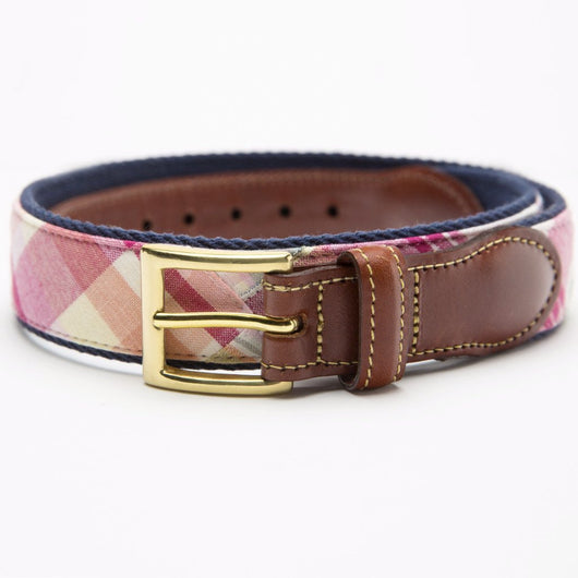 Patchwork Madras Leather Tab Belt- Tuckers Point