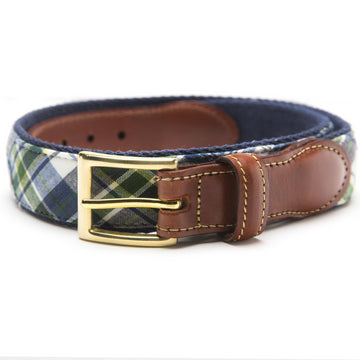 Madras Leather Tab Belt- Mackinac