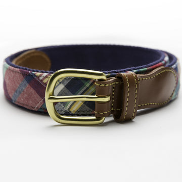 Patchwork Madras Leather Tab Belt- Block Island